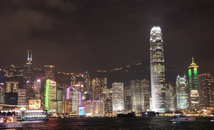 """Night View Of Hong Kong Island From Victoria Harbour"""