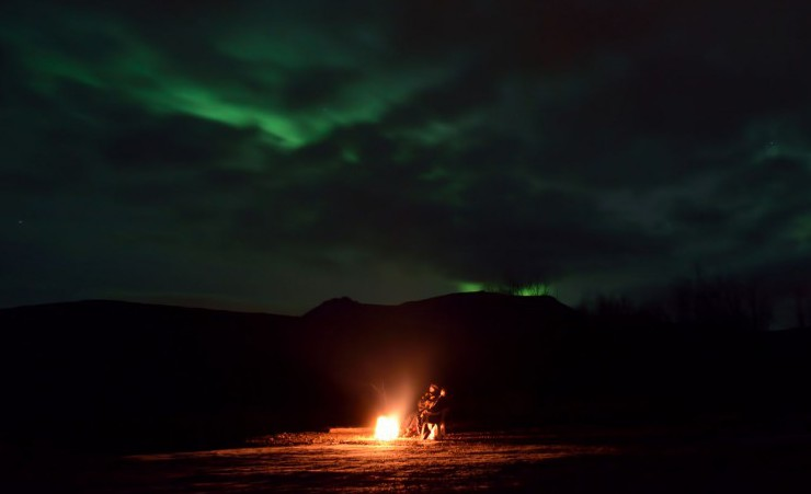 """Camp Fire With The Aurora Borealis"""