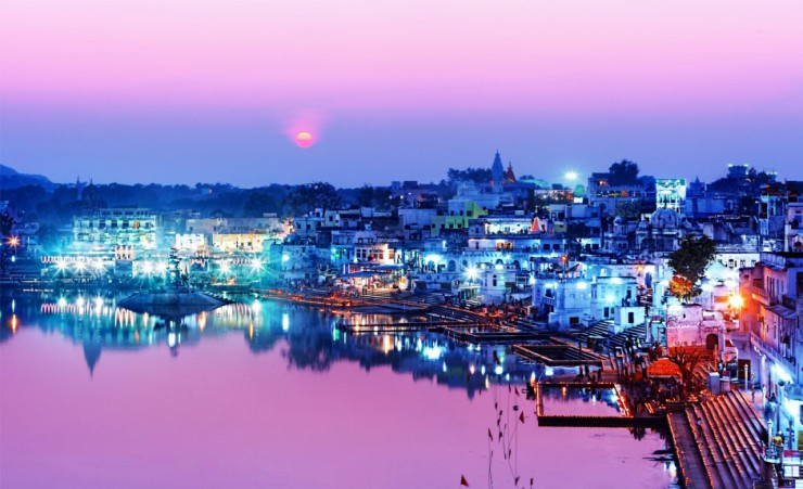"""Pushkar Lake At Night"""