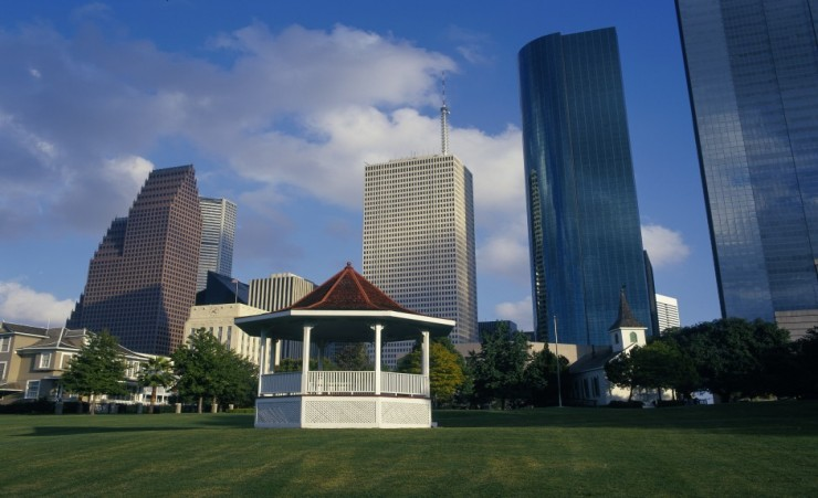 """Band Stand In Sam Houston Park"""