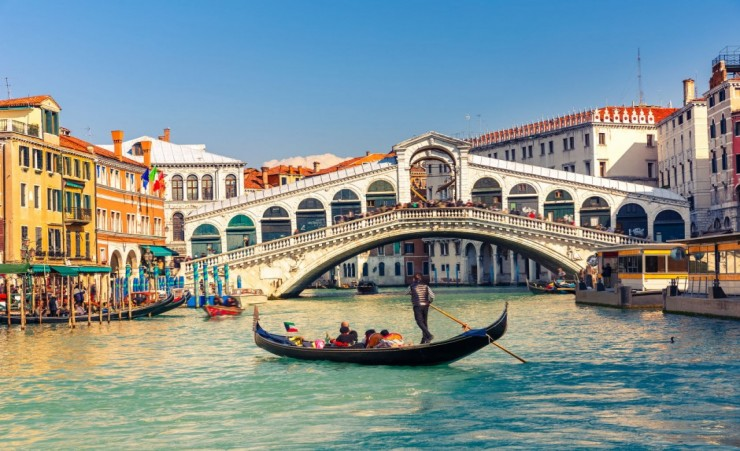 """Gondola Near The Rialto Bridge Venice"""