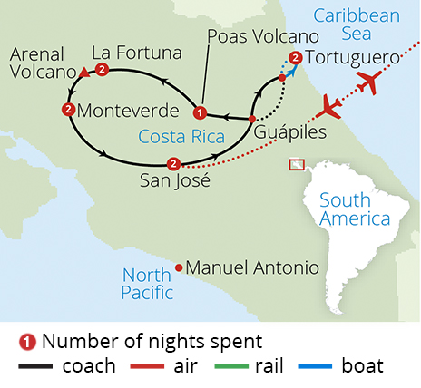 Captivating Costa Rica Route Map