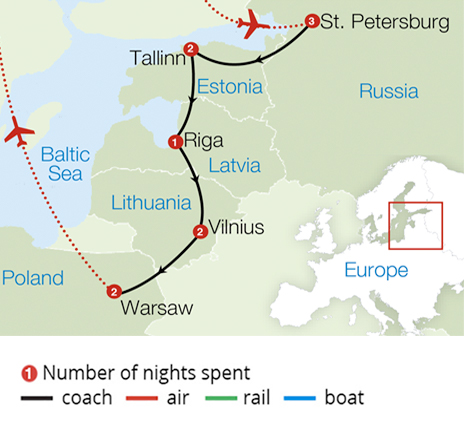 St Petersburg and the Baltic Capitals Route Map