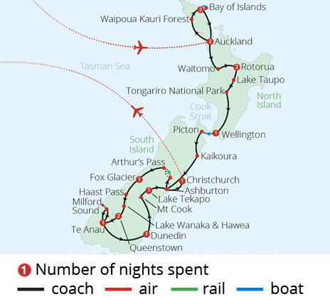 Discover New Zealand Route Map