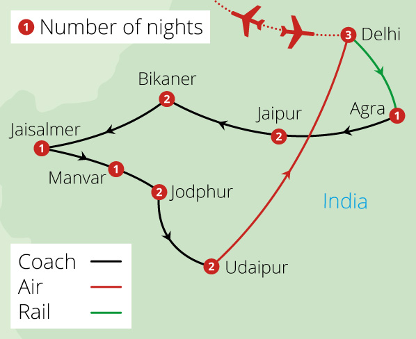 Grand Tour of Rajasthan Route Map