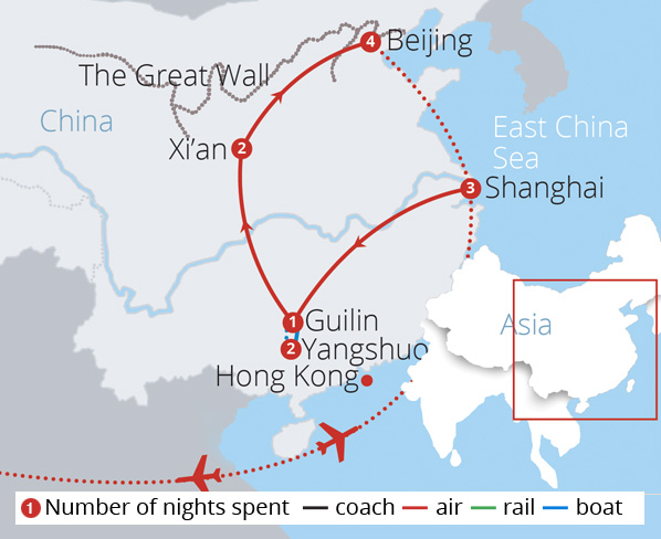 Glorious China Route Map