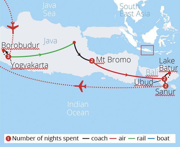 Indonesias Java and Bali Route Map