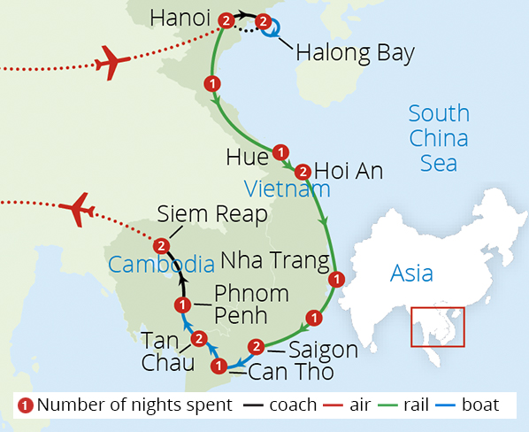 Vietnam and Cambodia Odyssey Route Map