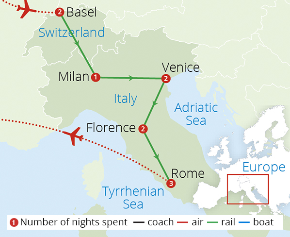 Venice Florence and Rome by Rail Route Map