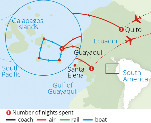 Ecuador and the Galapagos Islands Route Map
