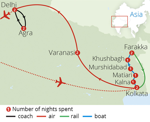 Delhi Agra and the Mighty Ganges Route Map