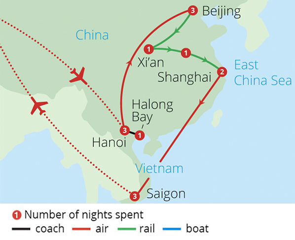 Highlights of China and Vietnam Route Map