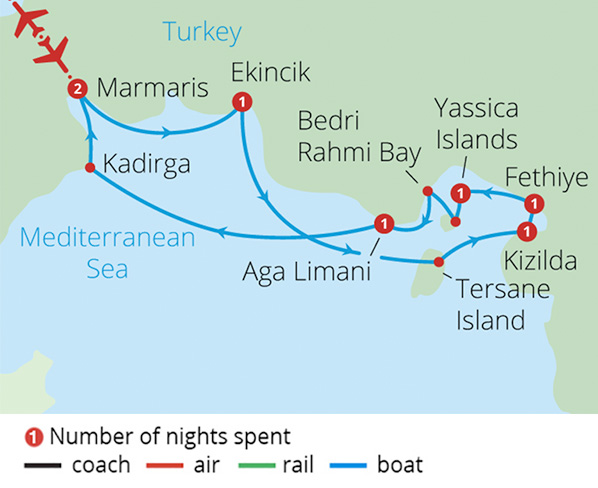 Sailing Turkey's Blue Coast Route Map
