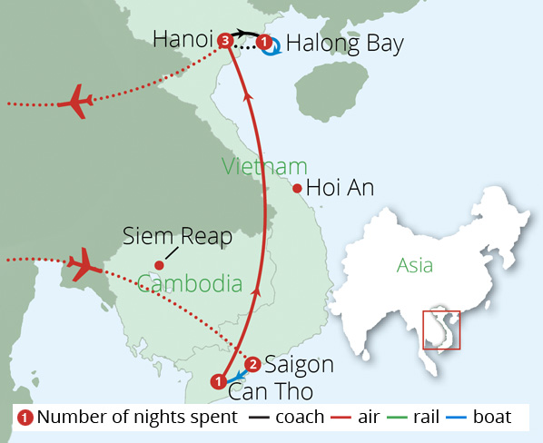 Impressions of Vietnam for Solo Travellers Route Map