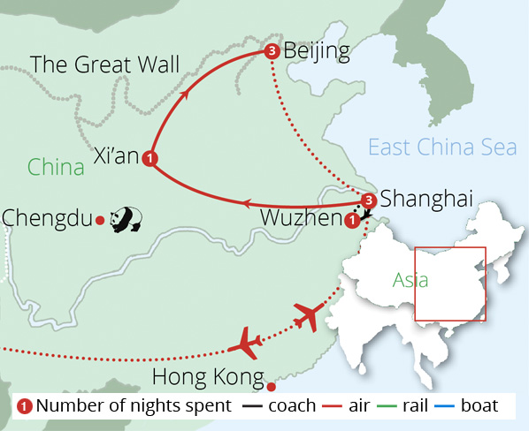 China Discovery Tour for Solo Travellers Route Map