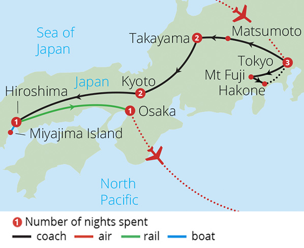 Treasures of Japan 2019 Route Map