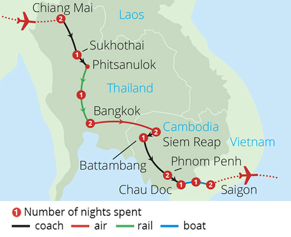 Journey to the Mystical Mekong Route Map