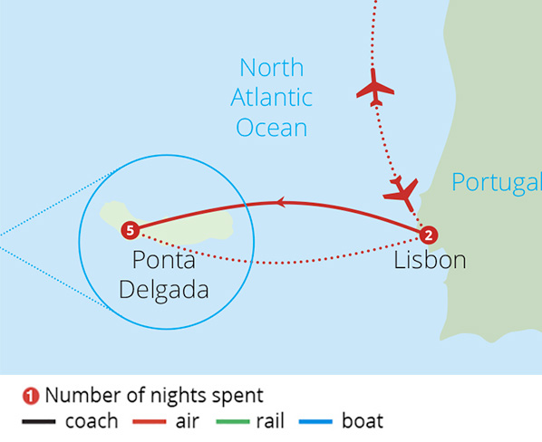 Lisbon and the Azores Route Map