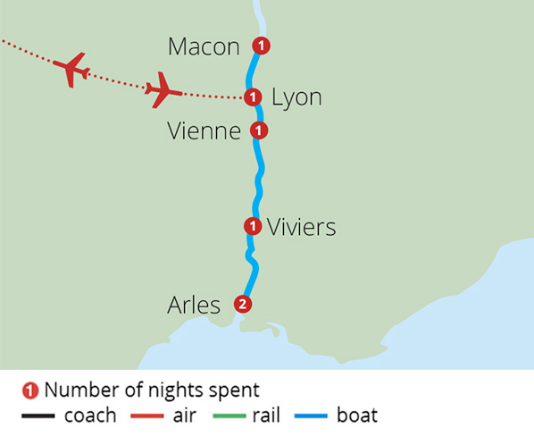 A Journey through Provence on the Rhone Route Map