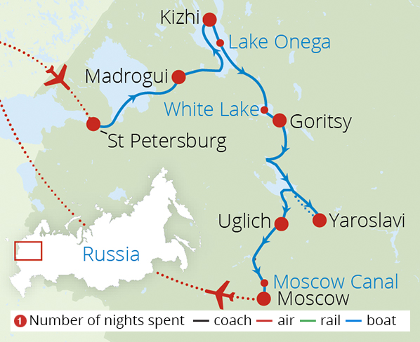 Tsars Tolstoy and Russia's Mighty Volga 3 Star Boat Route Map