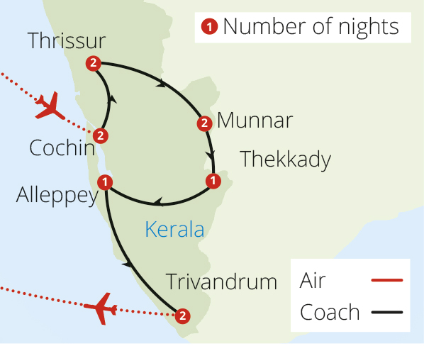 Kerala Explorer for Solo Travellers Route Map