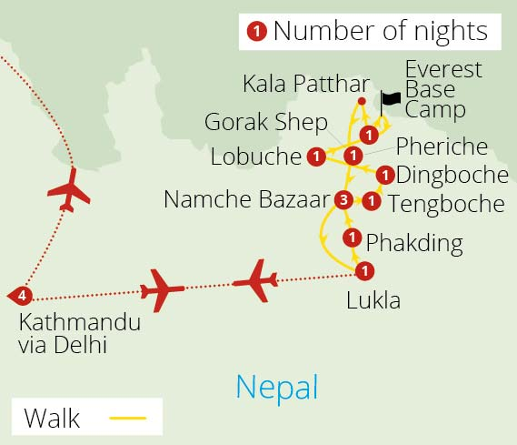 Everest Base Camp Trek Route Map