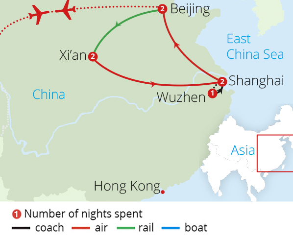China Discovery from Manchester Route Map