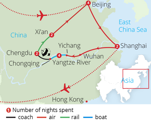 Wonders of China from Manchester Route Map