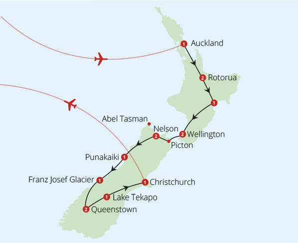 New Zealand 17 Day Fly Drive Route Map