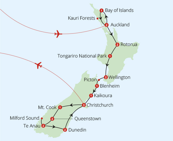 New Zealand 24 Day Fly Drive Route Map