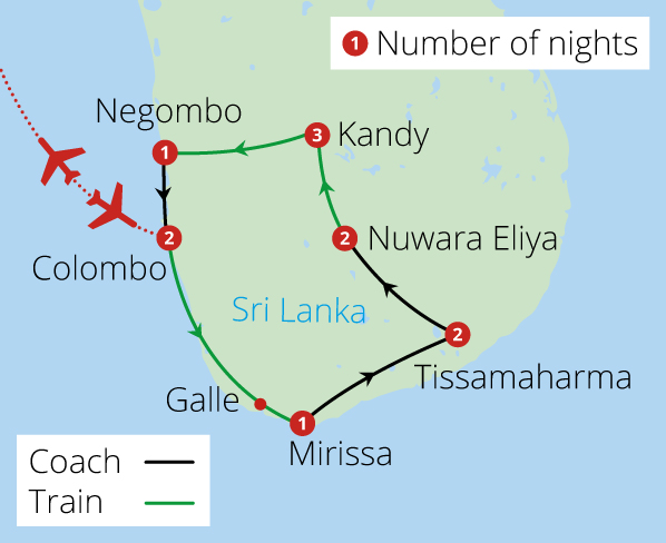 Splendours of Sri Lanka by Rail Route Map