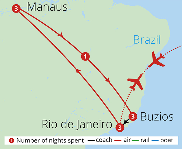 Brazil's Rio, Amazon and Beaches Route Map