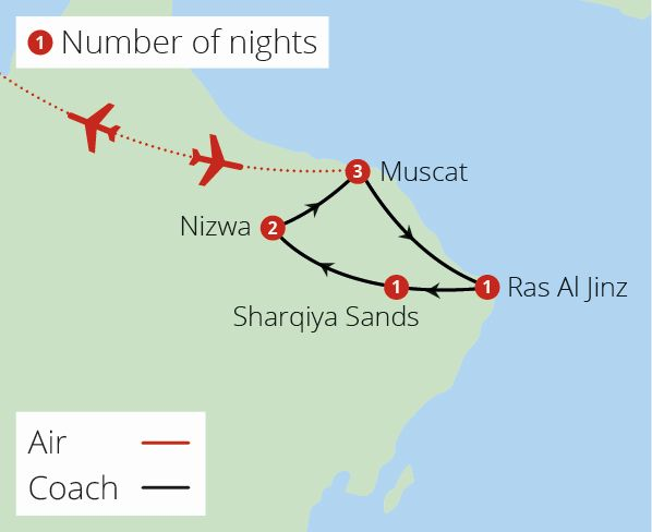 Jewels of Oman Route Map