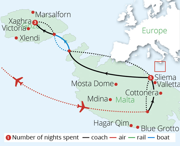 Malta and Gozo Route Map