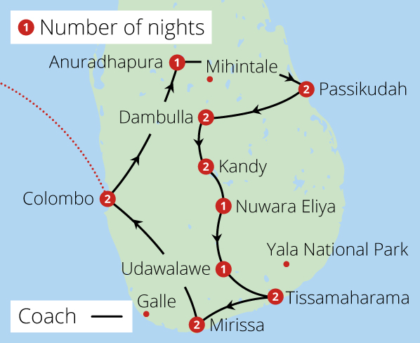 Grand Tour of Sri Lanka Route Map