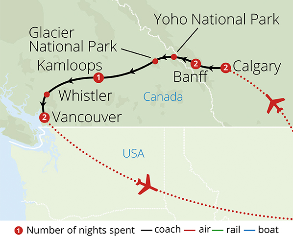 Canada and the Rockies Route Map