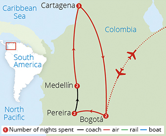Classic Colombia Route Map