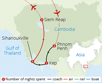Highlights of Cambodia Route Map