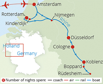 Picturesque Holland and the scenic Rhine Route Map