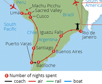 Grand Tour of South America Route Map