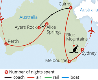 Australia From Coast to Coast Route Map