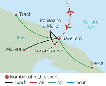 Bella Puglia by Rail Route Map