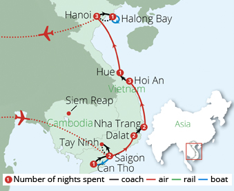 Splendours of Vietnam Route Map