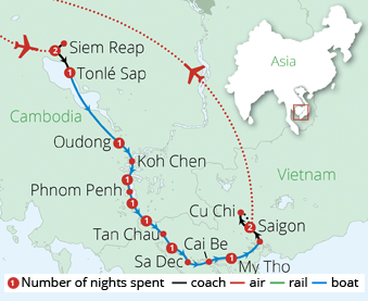 Mekong River Cruise Route Map
