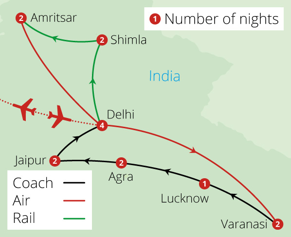 Grand Tour of North India Route Map