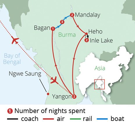 Burma Highlights and Cruise Route Map
